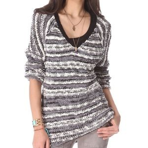•Free People• sz S black marled songbird pullover